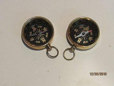 2 Mini Brass Pocket Compass -Nautical Maritime Navigation-Camping Hiking w/pouch