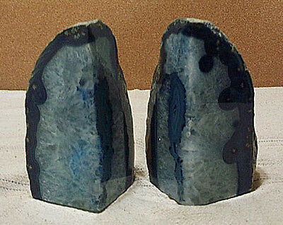 Brazilian Polished Volcanic Rock Crystal Agate Bookends Beautiful Geodes 8 Pound