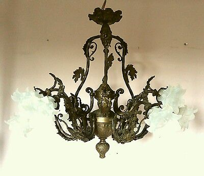 French c1900 Antique Quality Ornate 9 Arm Gilt Brass Chandelier Fully Restored