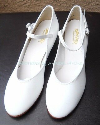 "New DANSHUZ 3327 White Dance SHOES 1.5"" Heel Leather Sole Women's 9 M NWOB"