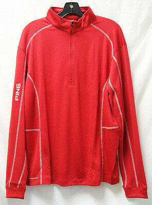 NEW Ping Golf Apparel Contrast Stitch Pullover Red White Mens Size Large L