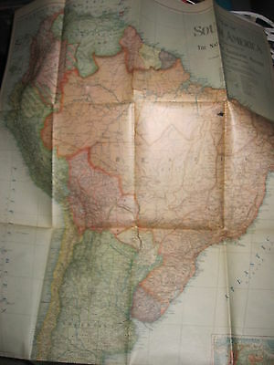 NATIONAL GEOGRAPHIC map 1921 SOUTH AMERICA