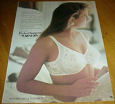 1988 Girl in Lace Bra & Panties for Warner's Perfect Support 2 Page Ad #122916