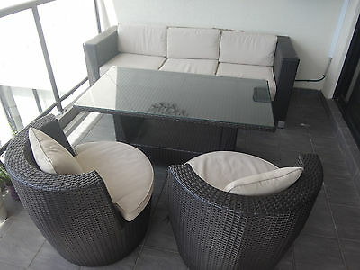 Wicker outdoor set, sofa, chairs, table, box, furniture, brown, decoration,