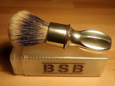 25mm High Mountain white BSB Fan Tip Shave Brush with Polished Aluminium Handle