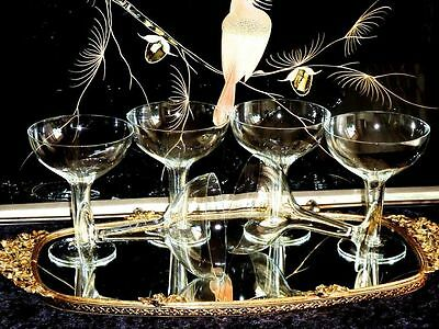 Exceptional & Exquisite Crystal Art Deco  Hollow Stem Champagne  Glasses