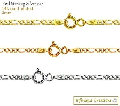 14k Gold Plate Sterling Silver 925 Italian FIGARO CHAIN Necklace 1mm-4mm