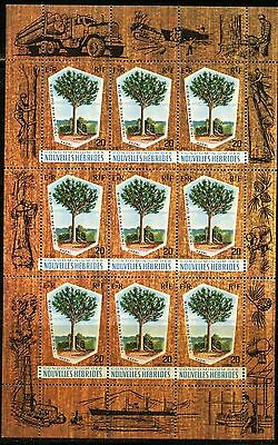 NEW HEBRIDES (French) Sc#151 1969 Timber Industry M/S of 9 Mint NH Complete