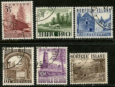 NORFOLK IS. Sc#13-18 1953 Scenic Definitives Complete Used