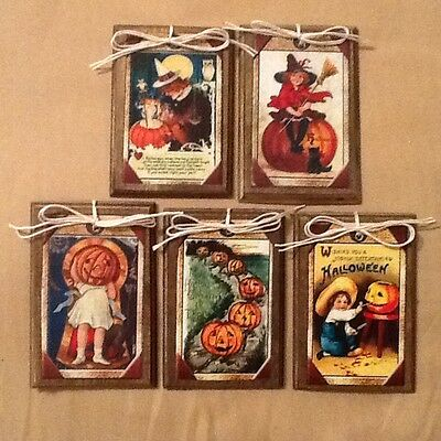 5 HANDCRAFTED Wooden Halloween Ornaments/Hang Tags/Gift Tags/Bowl Fillers SETtn