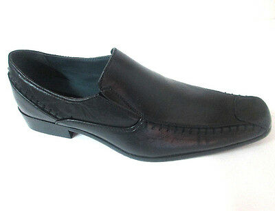 Marco Rossi Faux Leather Loafers Slipon Distressed Black Men's Shoes-MR1