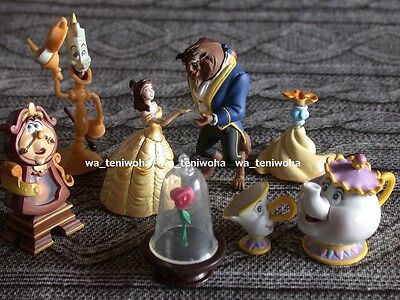 "New Full Set! ""Beauty and the Beast"" Tiny! 6 Figures + Rose Disney Choco Egg"