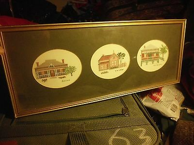 Needlepoint Tryptych Houses Framed