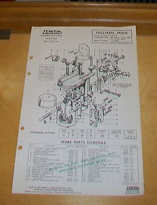 Hillman Minx Sv 1955-56 Zenith 30 Vm-7 Carburetter Spare Parts Technical Notes
