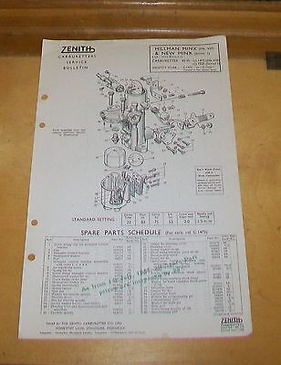 Hillman Minx Viii & Series I Zenith 30 Vi Carburetter Spare Parts Technical Note
