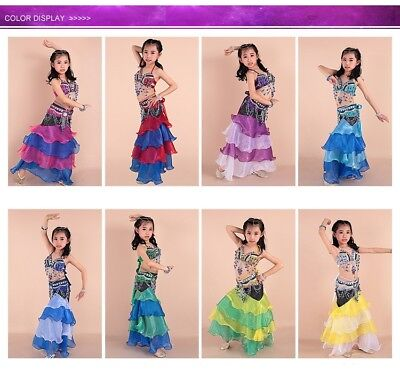 Kids' Dancewear Rainbow Dress Professional Belly Dance Beads Costume