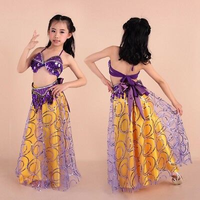 Girl Halloween Belly Dance Costume Carnival Dress Top Skirt Outfit