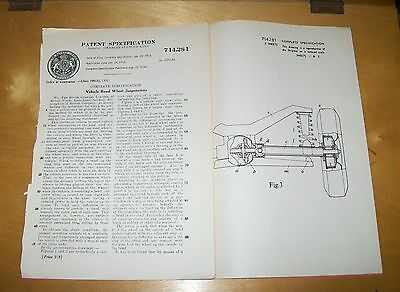 Vehicle Road Wheel Suspensions Patent. Rover, Solihull 1954 ?land Rover