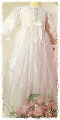 Christening Dress and Bonnet with seperate underskirt  0-6 Months