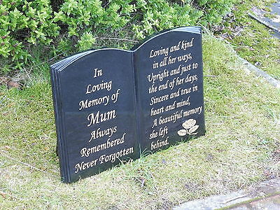 Memorial Stone Grave Stone Granite Book Shape Stand Up Style Personalised