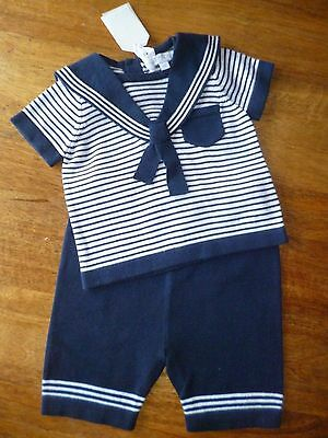 Bnwt Knitted  Cotton Sailor Navy Shorts  Set 0/3 ,3/6, 6/9, 9/12   Months