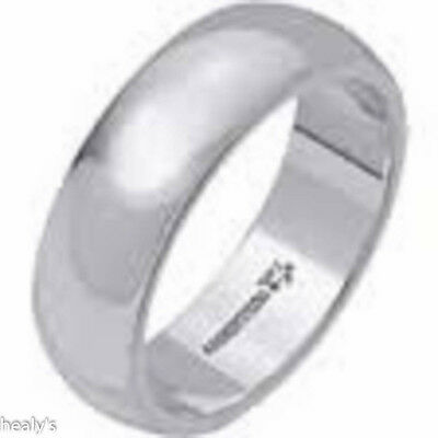 Men's Argentium Sterling Silver Solid 6mm Wedding Ring Band - Hallmarked