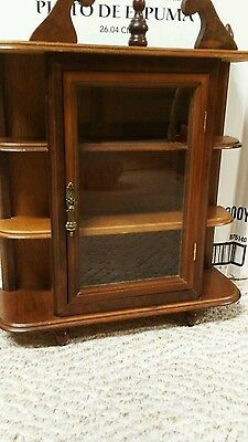 3 Shelf CABINET Wall or Tabletop Glass Door Collectables~Excellent!