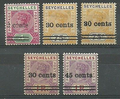 Seychelles - QV various definitives - 45c UM, rest LMM