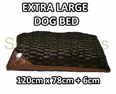 X-LARGE Warm Comfy Puppy Pet Dog Cat Pillow Bed Mat Basket Washable CHECK BROWN