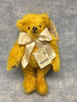 "Merrythought Teddy Bear Yellow 10"" tall Mohair Wish Bone LMT ED 26/100 signed"