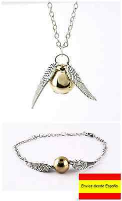 Harry Potter Collar Colgante + Pulsera Reliquias de la muerte Snitch