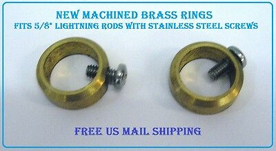 2 New Brass Set Rings to hold Lightning Rod Balls and WeatherVanes up on rods