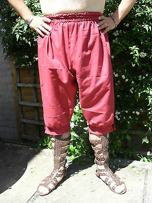 Roman Legionary Style Braccae/ breeches/ trousers. Red, Free size.