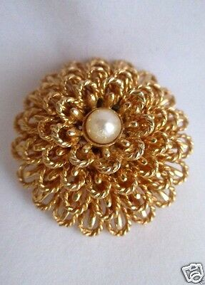 Boucher vintage floral pin jewelry FREE SHIP Brooch Signed Cultured Pearl