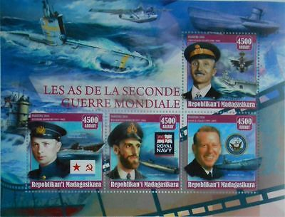 Aces of Submarines WWII World War II ships Navy Madagascar 2016 m/s #MDG2016-31