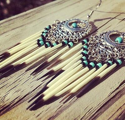 Turquoise Tribal Mi'kmaq Earrings Porcupine Quill Beaded North American Original
