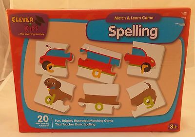Clever Kids Match & Learn Spelling Puzzle Game Ages 3+