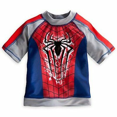 NWT Disney Store Spiderman Swimsuit Top Rash Guard Size 4 UPF 50+ Swim