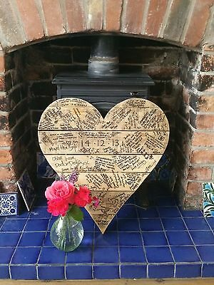 WEDDING MESSAGE BOARD alternative GUEST book Heart RECYCLED WOOD personalised