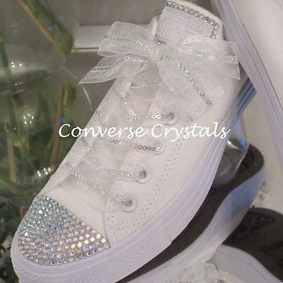 Wedding Bridal Mono White Custom Crystal *Bling* Converse Sizes 3-8