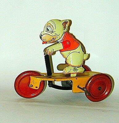 Bonzo Lithographed Tin Wind-up Scooter Guntherman Germany Circa 1928