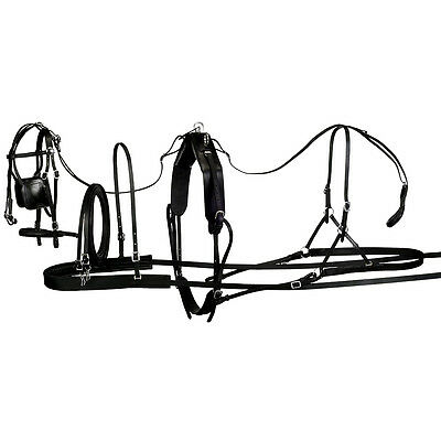 Large Tough 1 Tracker Leather Pony Horse Harness W/ Bridle Blinders Black