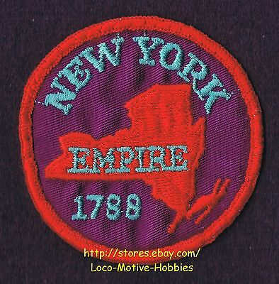 LMH PATCH Badge  NEW YORK  1788 11th EMPIRE STATE City NY Outline Red Purple  3""
