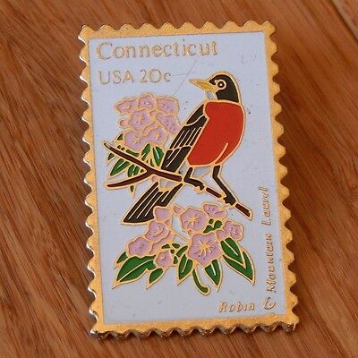 US Post Office Postage Stamp Enamel Pin Pinback CONNECTICUT Bird Flower State