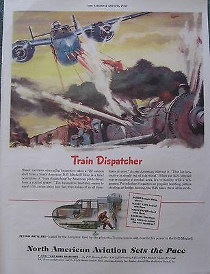 B-25 Mitchell takes out Japanese Train WWII Ad