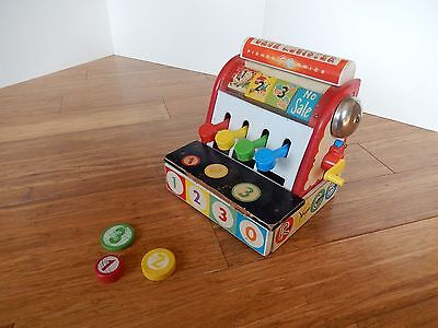 Vintage 1960's Fisher Price Wood Cash Register #972 With Wooden Coins