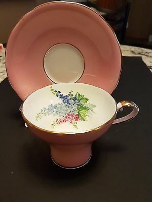 Vintage Aynsley  Cup & Saucer Pink With Floral Pattern In The Cup