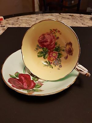 "Vintage Paragon Footed Wide Mouth Cup And Saucer Green Roses ""mismatched Set"""