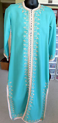 Beautiful! Handmade Embroidered Long Turquoise Embellished Moroccan Robe Kaftan