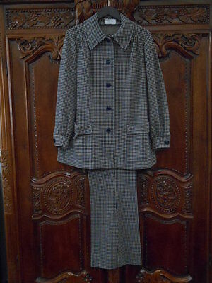 Vintage 70s Navy Blue & Tan Check Pant Suit- Size 16-Very Good Condition